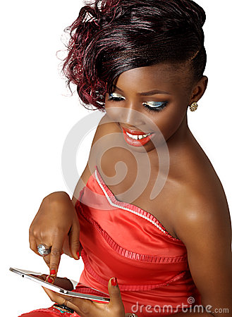smiling beauty woman using digital tablet