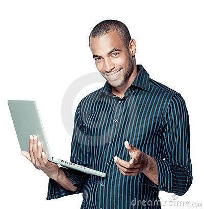 Smiling black man with laptop