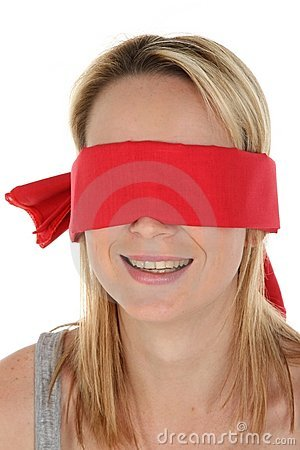 Smiling Blindfolded Woman
