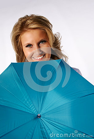 Girl behind umbrella