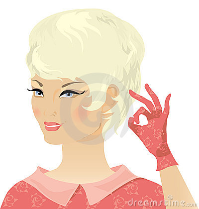 Free Smiling Blond Retro Lady Stock Image - 958621