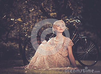 Smiling blond retro woman