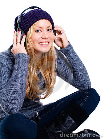Smiling blond woman with headphones