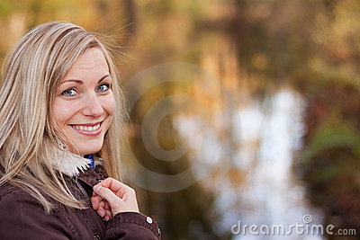 Smiling blonde (outdoor)