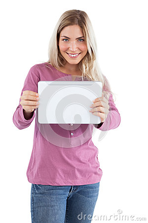 Smiling blonde woman holding tablet pc