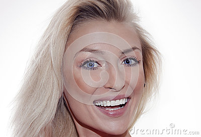 Smiling blonde woman portrait.