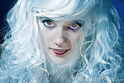 Smiling blue fairy girl