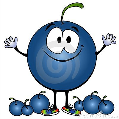 Blueberry Cartoon Smiling blueberry cartoon face