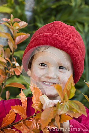 Smiling boy in autumn