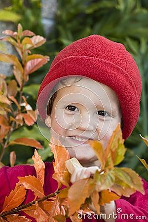 Smiling boy in autumn