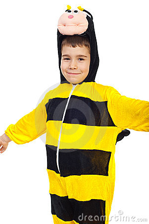 Smiling boy in bee outfit