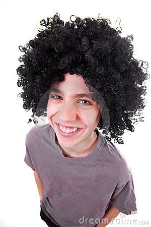 Smiling boy with black wig