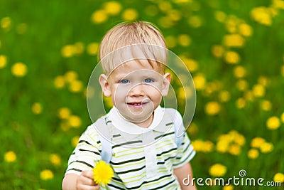 Smiling boy in dandelion meadow