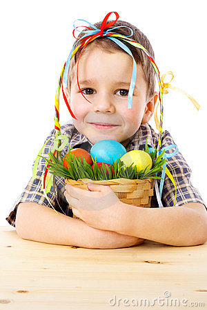Smiling boy with easter eggs in basket