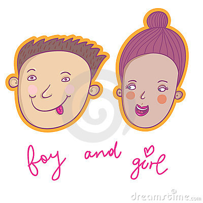 Smiling boy and girl