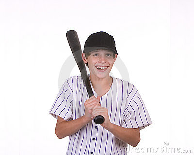 Smiling boy holding bat