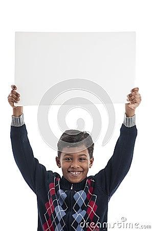 Smiling Boy Holding Blank Board