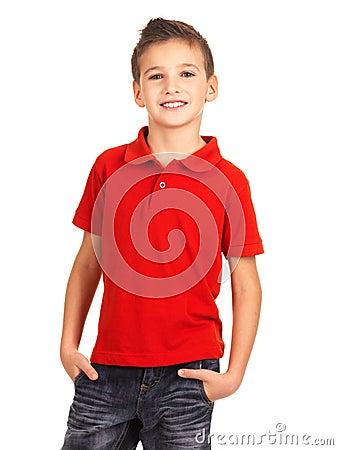 Smiling boy posing as a fashion model.