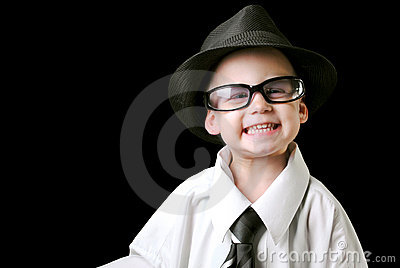 Smiling boy with tie