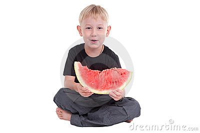 Smiling boy with watermelon