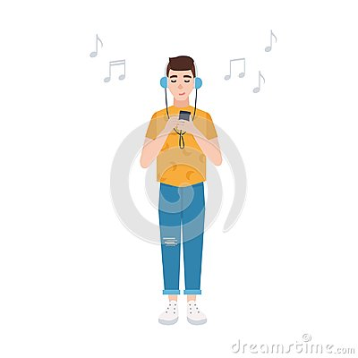 Free Smiling Boy With Closed Eyes In Headphones Standing, Holding Player And Listening To Music. Cute Male Cartoon Character Royalty Free Stock Image - 109249156