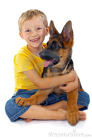 Free Smiling Boy With Dog Royalty Free Stock Photos - 3226028