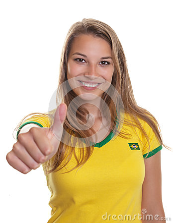 Free Smiling Brazilian Soccer Supporter Showing Thump Up Royalty Free Stock Images - 33010939