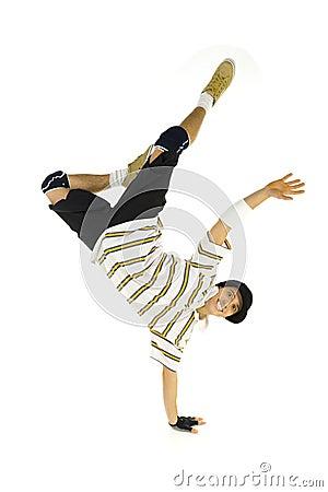 Smiling breakdancer