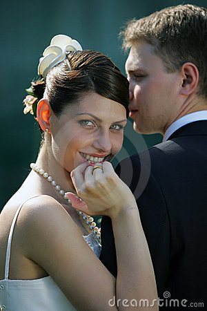 Smiling bride with husband