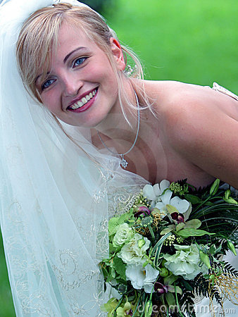 Free Smiling Bride In White Wedding Dress Stock Images - 4585034