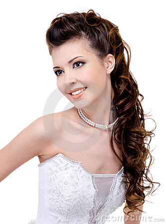 Free Smiling Bride With Curly Wedding Hairstyle Royalty Free Stock Photo - 13200745