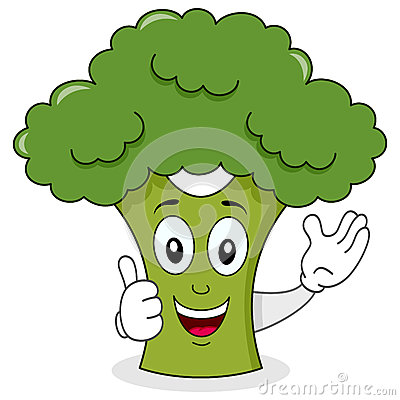 Smiling Broccoli Cute Cartoon Character