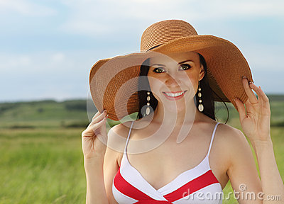 Smiling brunette girl summer day