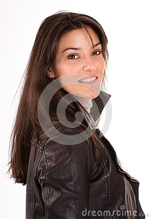 Smiling brunette in a leather jacket