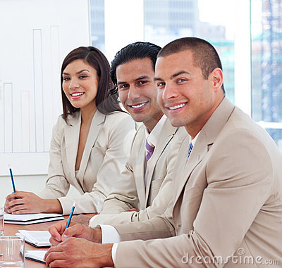 Smiling business associates in a meeting