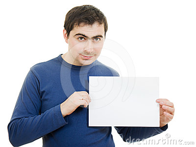 Smiling business man displaying blank card.