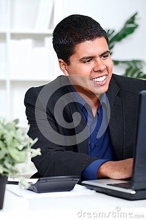 Smiling business man executive using a computer