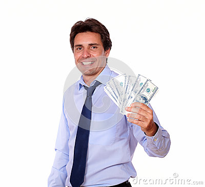 Free Smiling Business Man Holding Up Cash Money Stock Photography - 32147552
