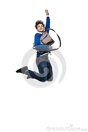 Free Smiling Business Man Jumping With Bag Stock Photos - 51152533