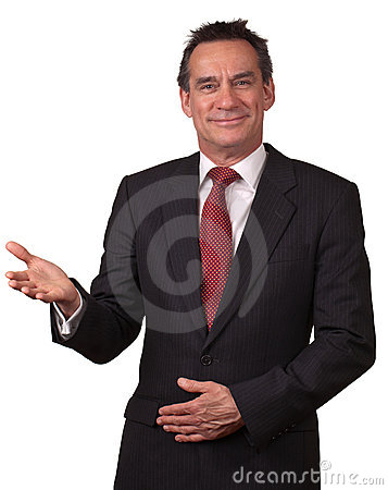 Smiling Business Man in Suit Gesturing Welcome