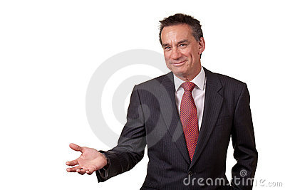 Smiling Business Man in Suit Showing Copy Space