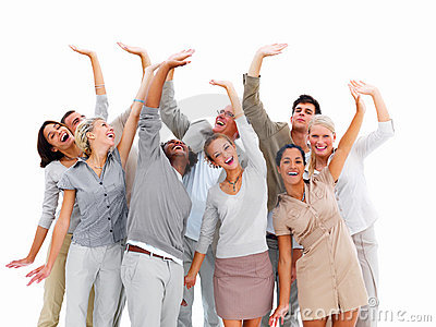 Stock Photo: Smiling business people waving hands. Image ...