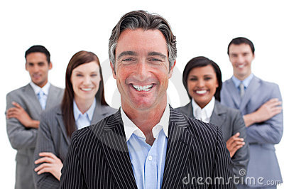 Smiling business team showing the diversity