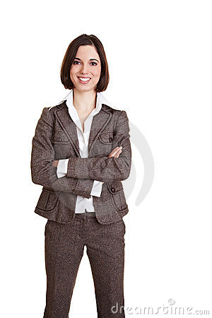 Smiling business woman with arms