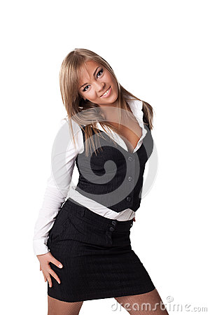 Smiling business woman in black skirt