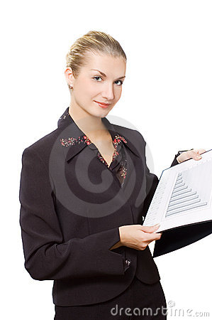 Smiling business woman with a diagram
