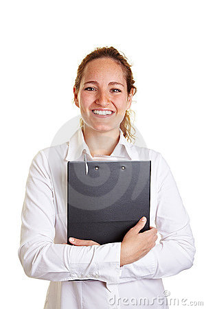 Smiling business woman embracing