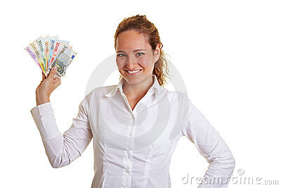 Smiling business woman with Euro