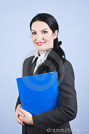 Smiling business woman with folder