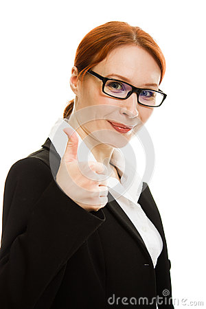 Smiling business woman gesture shows okay.